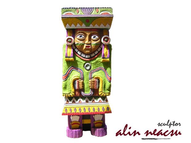 Sculpturi in lemn - Preoteasa Azteca